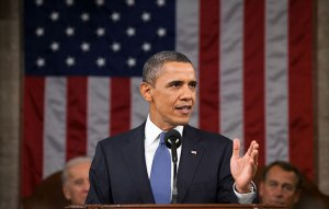 Obama giving the 2012 State of the Union Address.