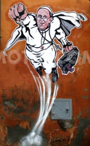 "Graffiti in Rome depicting Francis as ""SuperPope""."
