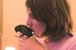 Thryn with Parie, her bird.