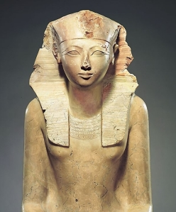 A statue of Hatshepsut, the first woman Pharoh.