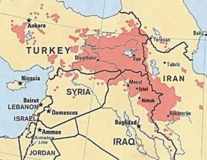 Where Kurdish people live.