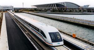 A maglev train coming out of Pudong International Airport, Shanghai