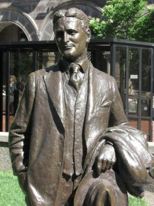 Native son F Scott Fitzgerald, enshrined in bronze in Rice Park.