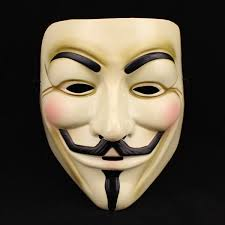 A Guy Fawkes mask, as used by Anonymous.