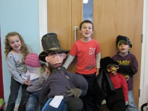 """Kids with their """"Guy"""" in Dorset, 2012."""