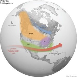 How El Niño affects the airflow, and thus the weather, in North America.