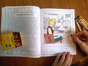 My daughter Thryn coloring in Hillary Clinton's life.