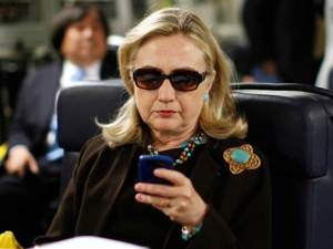 "The image that launched ""Texts from Hillary"".  She's at her best looking bad-assed."
