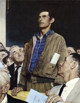 Free Speech, from Norman Rockwell's Four Freedoms series.  We don't live in this kind of world anymore.