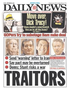 It's a bit much to call it treason, but it was dumb.  And this is a paper that is against negotiating with Iran.
