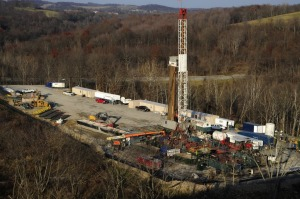 A frack well tower in Pennsylvania.  The reach of one of these may radiate out for miles.
