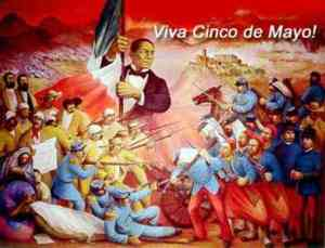 A mural depicting the Battle of Puebla.
