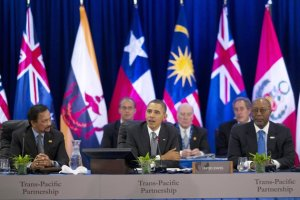Obama attending one of the more public moments in TPP negotiations.