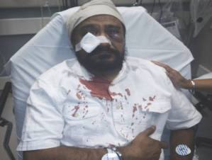 "Inderjit Singh Mukker was beaten badly just yesterday in Chicago by thugs calling him ""bin Laden"" and a ""terrorist"". He is Sikh."