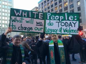 From the recent Black Lives Matter protest in Minneapolis. The two were identified as a Disciples of Christ Pastor and a Presbyterian Minister. The get this.