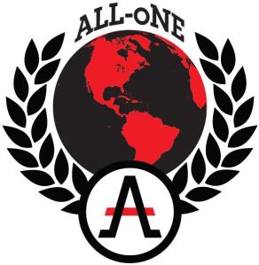 "A logo for ""ALL oNE"", a left-libertarian group. The wobblie-ness of it is a key feature."