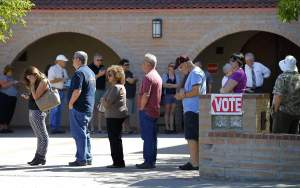 Waiting in line to vote in Arizona.  A very long line.