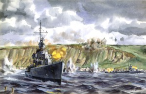 A depiction of the Destroyers, led by the USS Frankford, nearly running aground to supply close support.