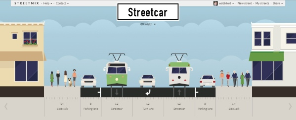 My best guess as to what Seventh wants. The streetcars share a lane with traffic (and may just be buses until a certain ridership threshold is hit).