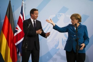 """Are you really ready to leave, David?"" Prime Minister Cameron and Chancellor Merkel."