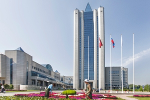 The headquarters of Gazprom, the state owned centerpiece of the Russian natural gas bonanza.