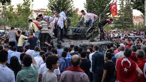 Turks face down tanks in opposition to the failed coup.  Erdogan's power comes from the people.