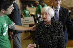 Janet Yellen chatting with Ady Barkan of Fed Up!