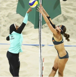 Doaa Elghobashy of Egypt competing in Beach Volleyball at the 2016 Olympic Games.  A perfect symbol of a nation in two worlds at once.