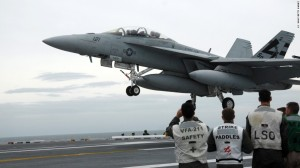 A carrier based F-18