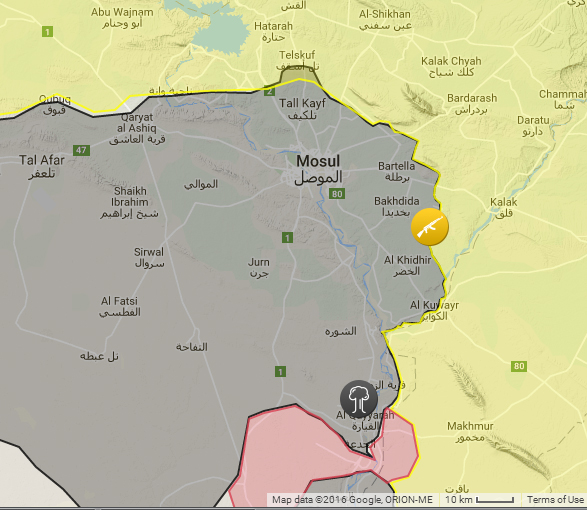 The area around Mosul, from the same map. Note that this is only about 150 km square.