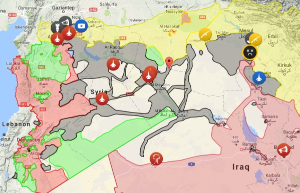 The incredible complexity of the Syria-Iraq Wars. Please see the original map for much more detail.