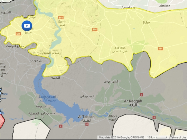 The area around ar-Raqqah, from the same map. Note the scale - this map is about 200km by 150 km
