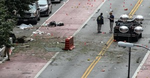 The aftermath of the Chelsea bombing - mostly people standing around confused.