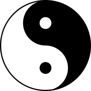 The ying-yang symbol most commonly associated with Taoism.  Each has its birth in the other, all is in harmony - but nothing is static.