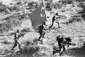Turkish troops advancing in Cyprus, 1974.